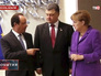 Франсуа Олланд, Петр Порошенко и Ангела Меркель