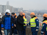 Мэр Москвы Сергей Собянин во время инспекции строительства развязки