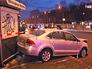 Последствия ДТП. Машина врезалась в остановку