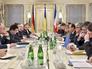 Встреча президента Франции Франсуа Олланда, президента Украины Петра Порошеко и канцлера Германии Ангелы Меркель в Киеве