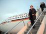 Канцлер Германии Ангела Меркель сходит с трапа самолета