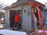 Разрушенный дом в результате ДТП