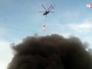 Пожарный вертолет на месте возгорания