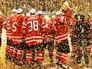 Игроки сборной Канады на церемонии награждения победителей чемпионата мира по хоккею