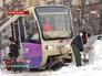 Трамвай застрял в сугробе в Ростове-на-Дону
