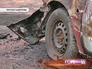 Сгоревшая машина в Москве
