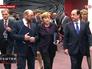 Председатель Европарламента Мартин Шульц, канцлер Германии Ангела Меркель и президент Франции Франсуа Олланд
