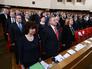 Голосование на внеочередном заседании Госсовета Крыма по утверждению Конституции республики