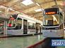 Современные трамваи в депо