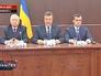 Виктор Янукович, Виталий Захарченко и Виктор Пшонка на пресс-конференции