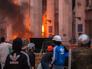 Пожар в здании областного совета профсоюзов в Одессе