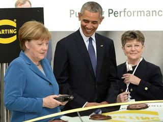 Ангела Меркель и Барак Обама на выставке в Ганновере