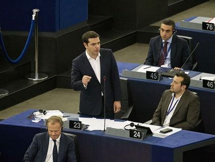 Алексис Ципрас выступает в Европарламенте