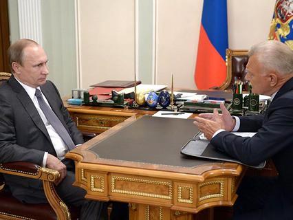 Владимир Путин с губернатором Рязанской области Олегом Ковалёвым