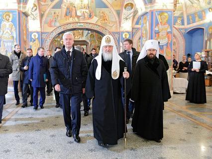 Сергей Собянин и Патриарх Кирилл в Черниговском подворье в Замоскворечье