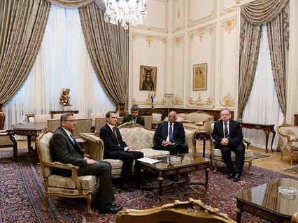 Председатель Госдумы РФ Сергей Нарышкин и председатель Палаты депутатов Египета Али Абдель Аль во время встречи в Каире