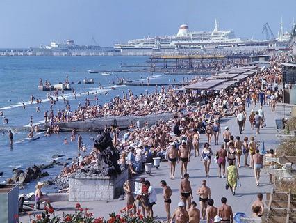 Набережная и пляж в городе Сочи. 1973 год