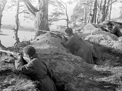 Бойцы народного ополчения ведут огонь из окопов в боях под Ленинградом