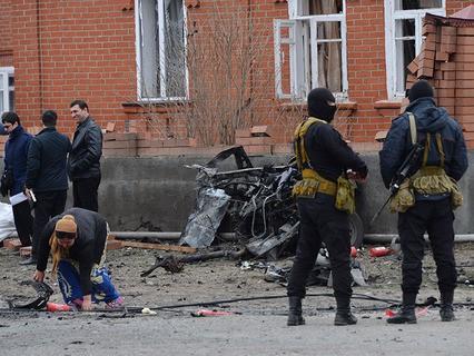 Место взрыва у мечети в Назрани