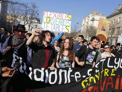 Манифестация студентов и школьников в Париже