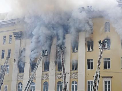 Пожар в здании Минобороны
