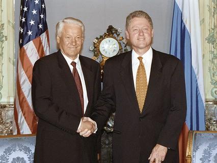 Президент РФ Борис Ельцин и президент США Билл Клинтон