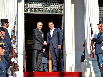Президент России Владимир Путин и премьер-министр Греческой Республики Алексис Ципрас
