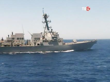 """Опасное сближение американского эсминеца Gravely с российским сторожевым кораблем """"Ярослав Мудрый"""" в Средиземном море"""