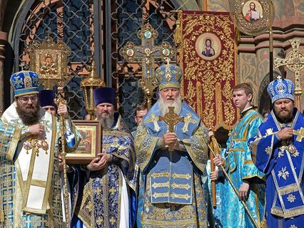 Патриарх Московский и всея Руси Кирилл обращается к верующим после божественной литургии в праздник Успения Пресвятой Богородицы