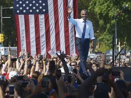 Барак Обама выступил на митинге в поддержку Хиллари Клинтон
