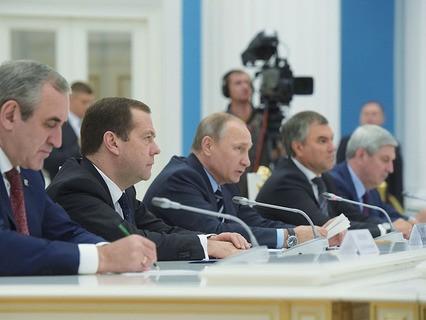 Владимир Путин проводит встречу в Кремле с лидерами партий, прошедших по итогам выборов в Госдуму