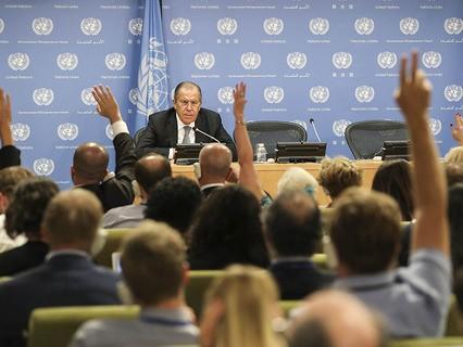 Глава МИД РФ Сергей Лавров на пресс-конференции