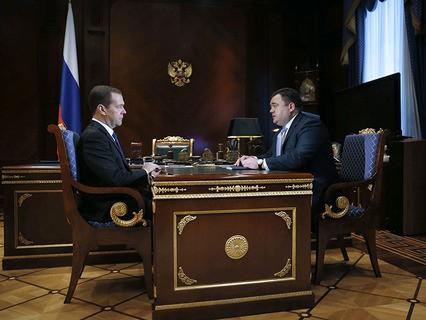 Дмитрий Медведев и генеральный директор Российского экспортного центра Пётр Фрадков