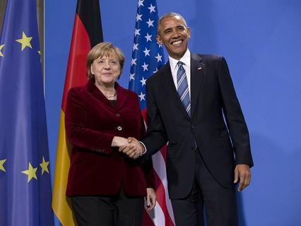 Барак Обама и Ангела Меркель во время встречи в Германии
