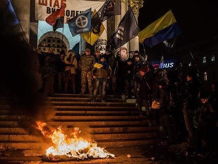 В Киеве радикалы подожгли офис Виктора Медведчука