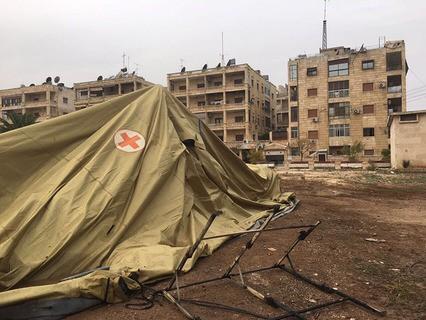Мобильный госпиталь Минобороны РФ в Алеппо после обстрела