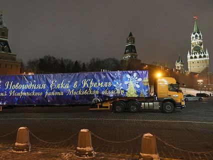 Специальный автопоезд с главной новогодней ёлкой России
