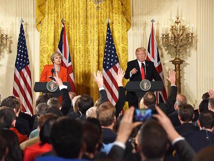 Совместная пресс-конференция премьер-министра Великобритании Терезы Мэй и президента США Дональда Трампа