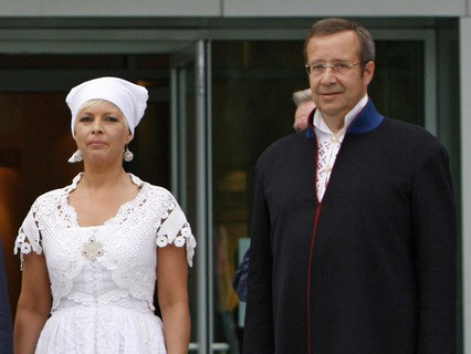 Президент Эстонии Томас Хендрик Ильвес с супругой Эвелин. 2008 год