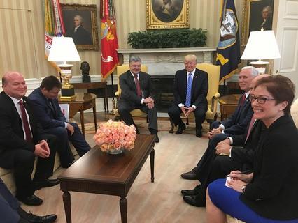 Президент Украины Пётр Порошенко и президент США Дональд Трамп