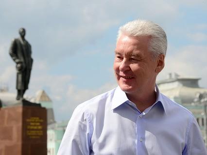 Мэр Москвы Сергей Собянин на площади Тверская Застава