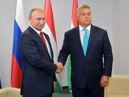 Президент России Владимир Путин и премьер-министр Венгрии Виктор Орбан во время встречи в Будапеште