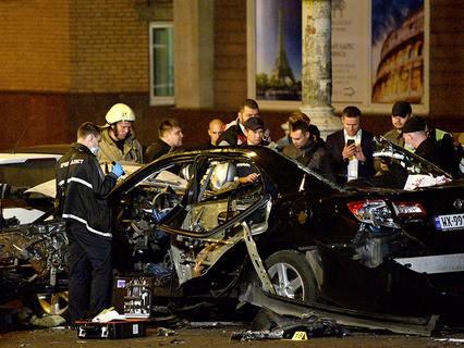 На месте взрыва автомобиля в центре Киева