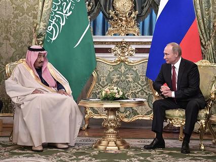Король Саудовской Аравиии Салман ибн Абдул-Азиз Аль Сауд и президент России Владимир Путин