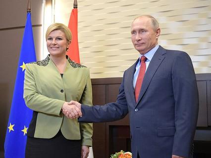 Президент Хорватии Колинда Грабар-Китарович и президент России Владимир Путин