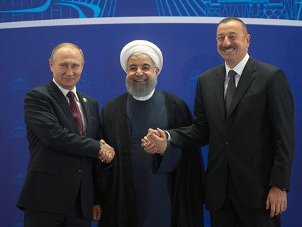 Президент России Владимир Путин, президент Ирана Хасан Рухани и президент Азербайджана Ильхам Алиев