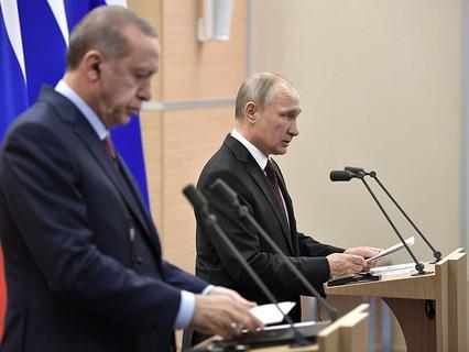Президент Турции Реджеп Эрдоган и президент России Владимир Путин на пресс-конференции по итогам встречи