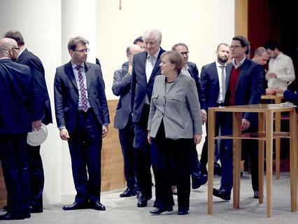 Ангеле Меркель на переговорах о формировании правящей коалиции в Бундестаге