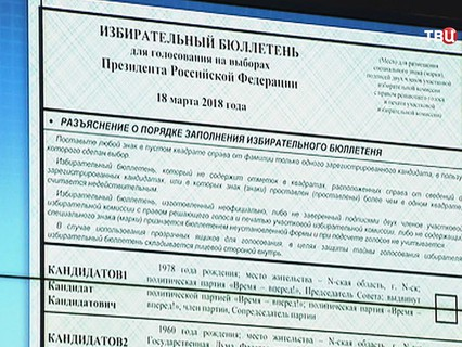 Избирательный бюллетень на выборах президента
