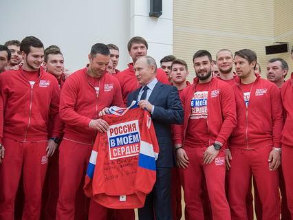 Владимир Путин во время встречи с российскими спортсменами